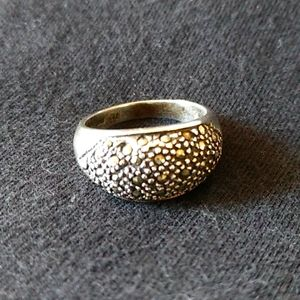 Vintage Sterling Silver and Marcasite Dome Ring